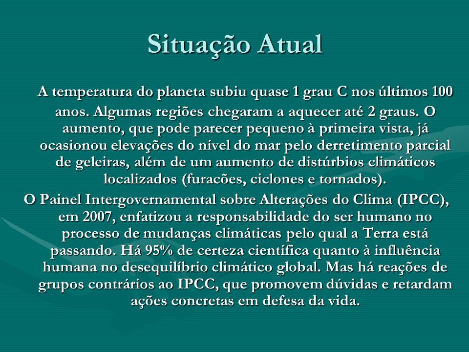 Situação Atual A temperatura do planeta subiu quase 1 grau C nos últimos 100 anos. Algumas regiões chegaram a aquecer até 2 graus. O aumento, que pode
