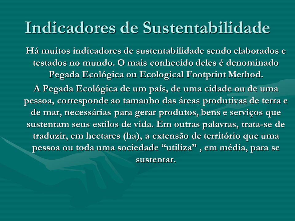 Indicadores de Sustentabilidade Há muitos indicadores de sustentabilidade sendo elaborados e testados no mundo. O mais conhecido deles é denominado Pe