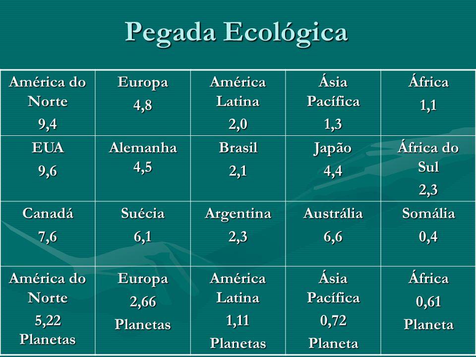 Pegada Ecológica América do Norte 9,4Europa4,8 América Latina 2,0 Ásia Pacífica 1,3África1,1 EUA9,6 Alemanha 4,5 Brasil2,1Japão4,4 África do Sul 2,3 C