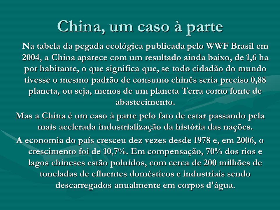 China, um caso à parte Na tabela da pegada ecológica publicada pelo WWF Brasil em 2004, a China aparece com um resultado ainda baixo, de 1,6 ha por ha