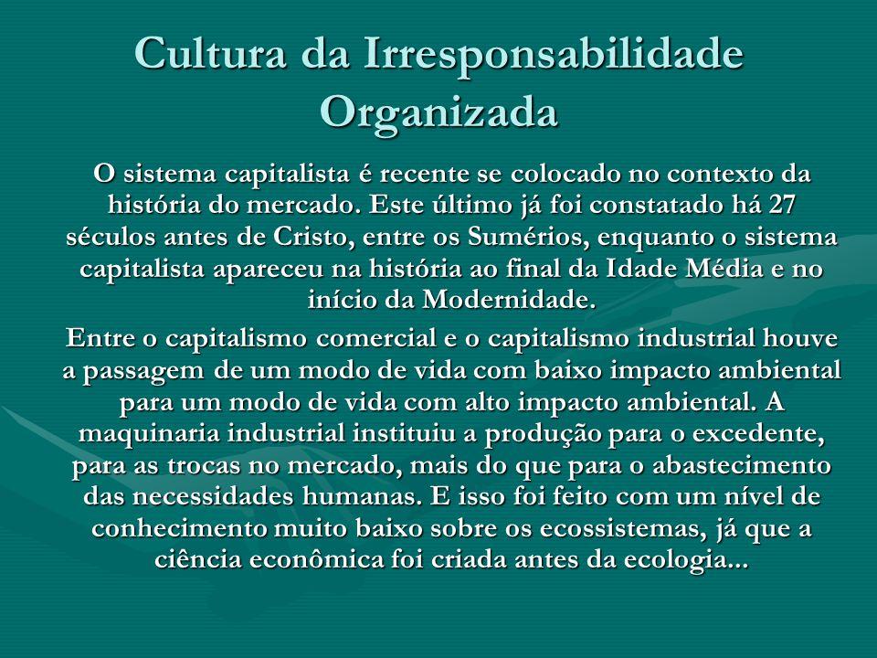 Cultura da Irresponsabilidade Organizada O sistema capitalista é recente se colocado no contexto da história do mercado. Este último já foi constatado