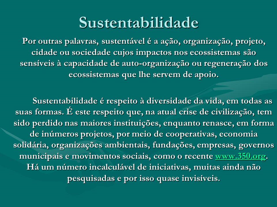 Sustentabilidade Por outras palavras, sustentável é a ação, organização, projeto, cidade ou sociedade cujos impactos nos ecossistemas são sensíveis à