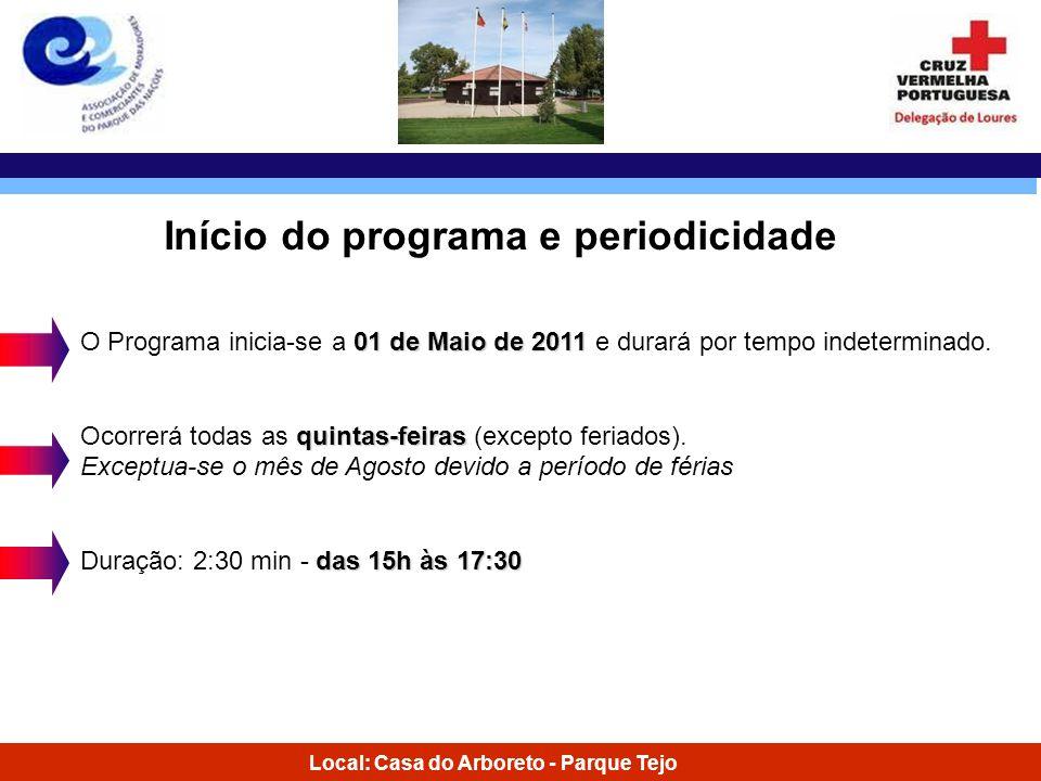 Local: Casa do Arboreto - Parque Tejo 01 de Maio de 2011 O Programa inicia-se a 01 de Maio de 2011 e durará por tempo indeterminado. quintas-feiras Oc