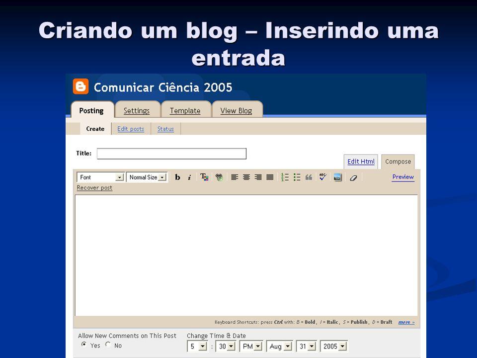 Criando um blog – Inserindo uma entrada
