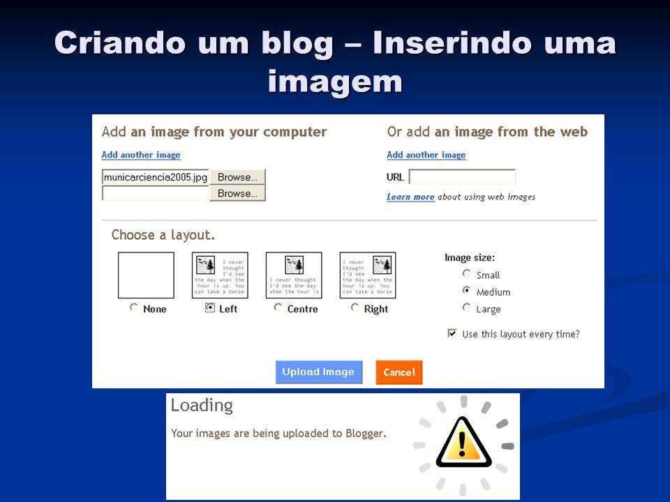 Criando um blog – Inserindo uma imagem