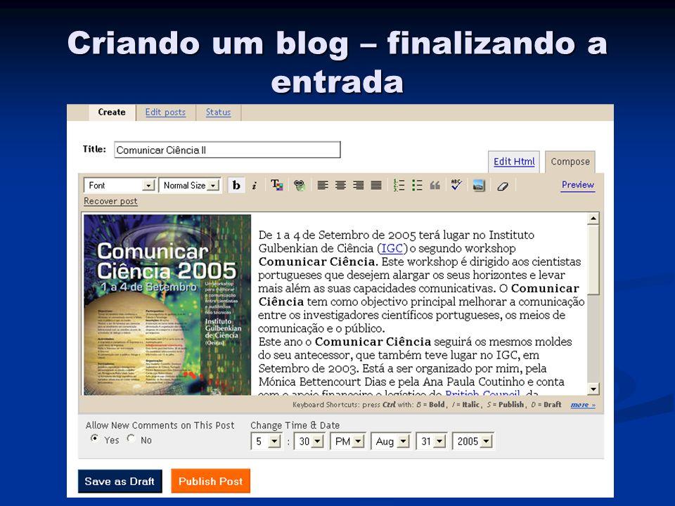 Criando um blog – finalizando a entrada