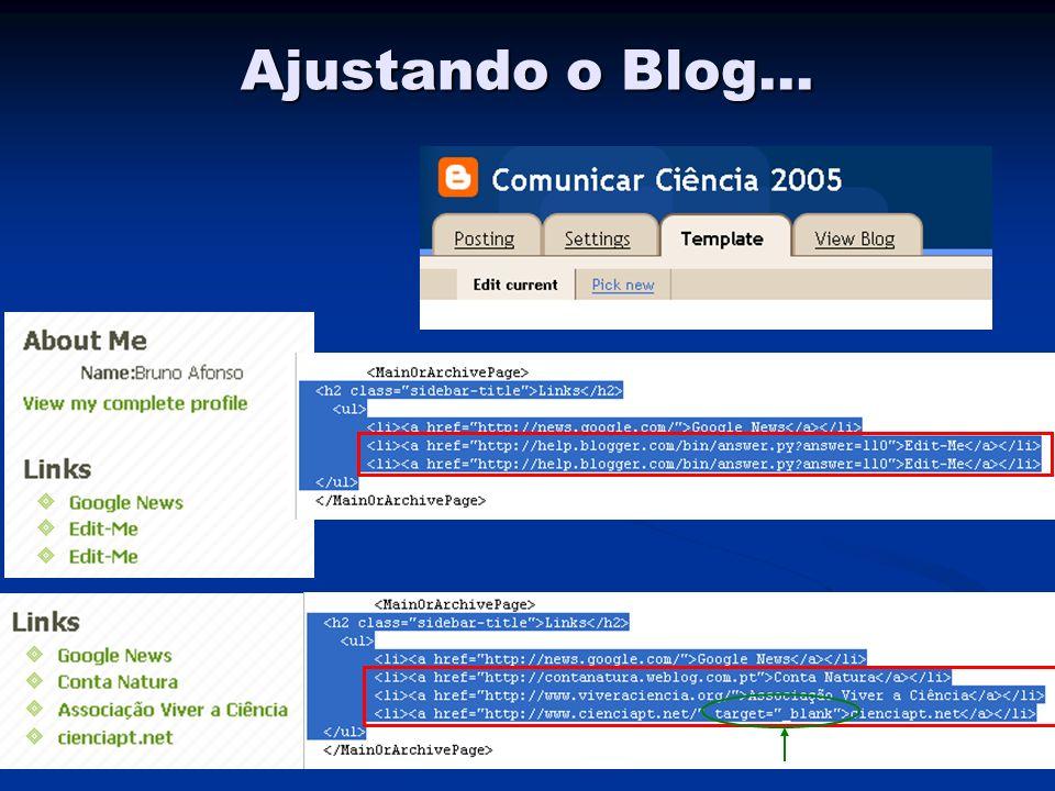 Ajustando o Blog...
