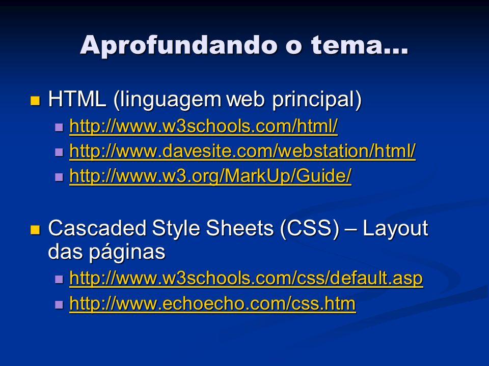Aprofundando o tema... HTML (linguagem web principal) HTML (linguagem web principal) http://www.w3schools.com/html/ http://www.w3schools.com/html/ htt