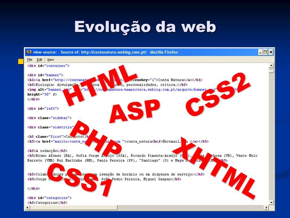Evolução da web Inicialmente apenas quem sabia bater código é que podia ter páginas pessoais sem pagar ou ajuda de outros Inicialmente apenas quem sabia bater código é que podia ter páginas pessoais sem pagar ou ajuda de outros HTML XHTML CSS1 CSS2 PHP ASP