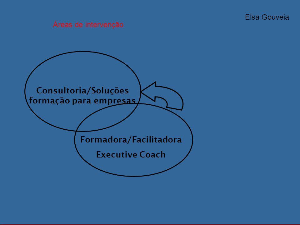 Consultoria/Soluções formação para empresas Formadora/Facilitadora Executive Coach Elsa Gouveia Áreas de intervenção
