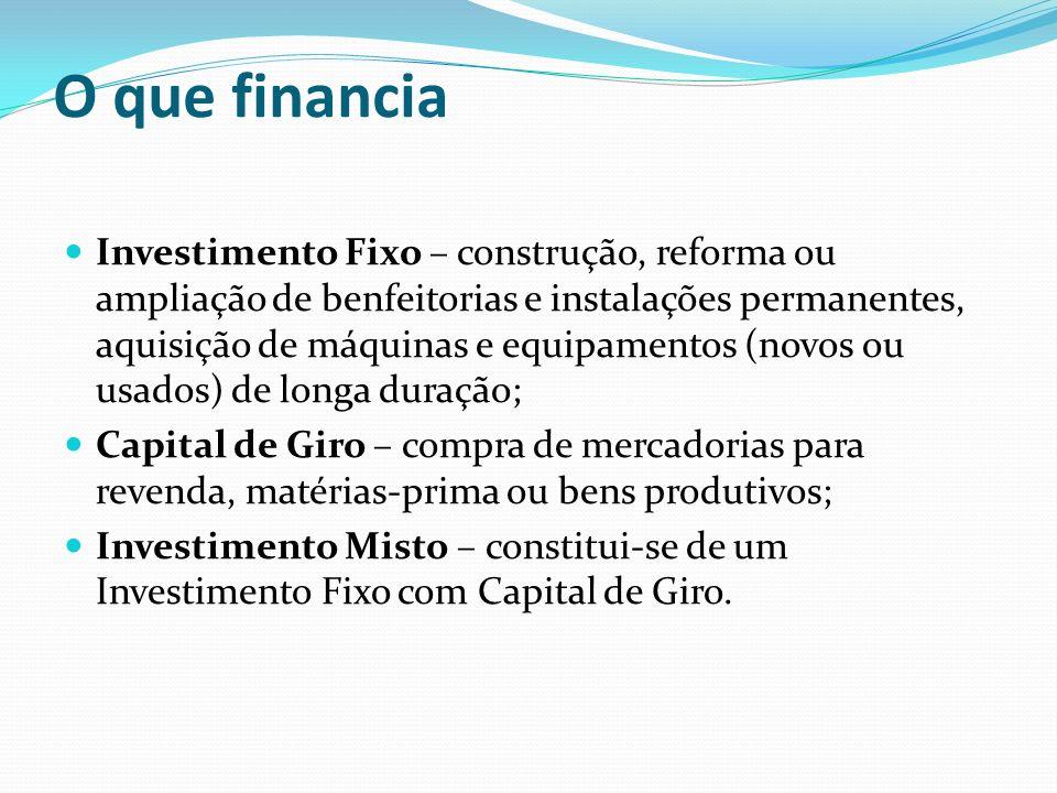 Limite de Financiamento Limite de Crédito Investimento Fixo: R$ 200,00 (duzentos reais) a R$ 5.000,00 (cinco mil reais); Capital de Giro: R$ 200,00 (duzentos reais) a R$ 3.000,00 (três mil reais).