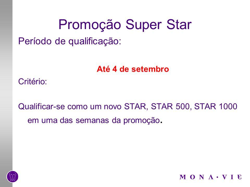 Promoção Super Star Período de qualificação: Até 4 de setembro Critério: Qualificar-se como um novo STAR, STAR 500, STAR 1000 em uma das semanas da pr