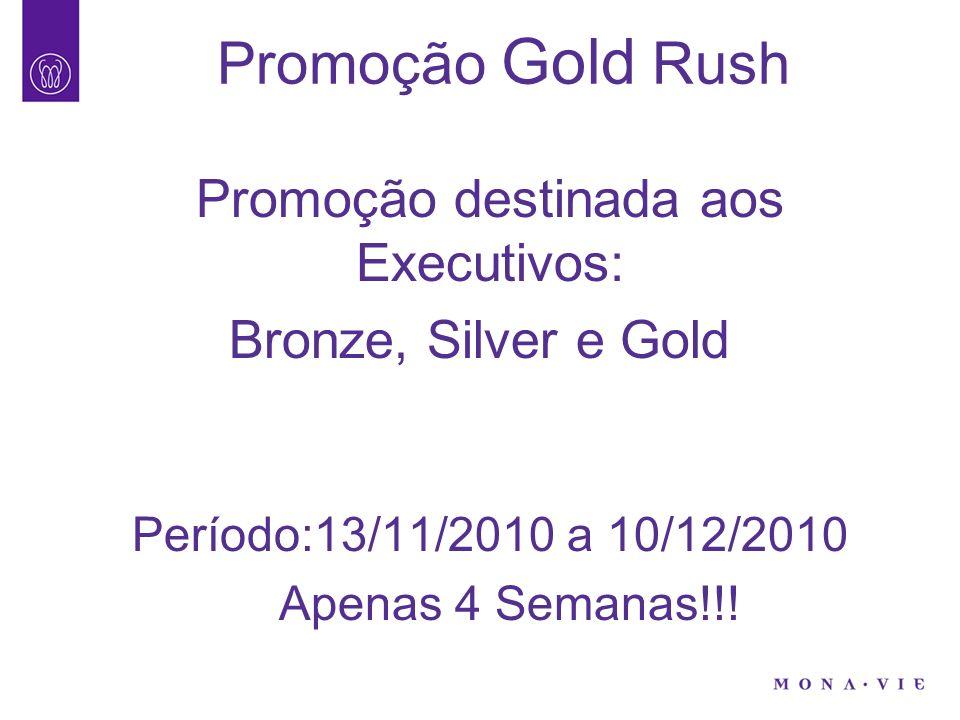 Promoção destinada aos Executivos: Bronze, Silver e Gold Período:13/11/2010 a 10/12/2010 Apenas 4 Semanas!!!