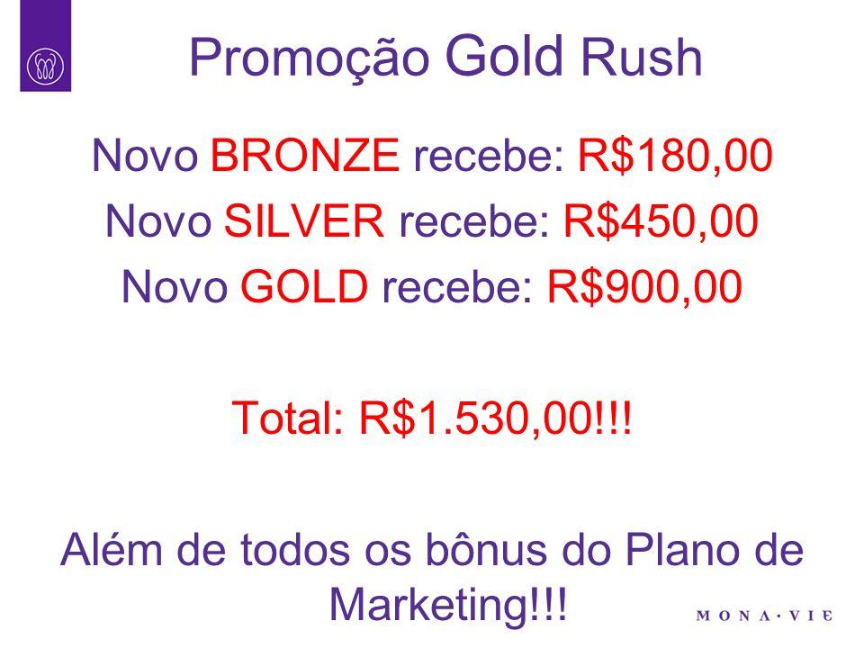 Promoção Gold Rush Novo BRONZE recebe: R$180,00 Novo SILVER recebe: R$450,00 Novo GOLD recebe: R$900,00 Total: R$1.530,00!!.