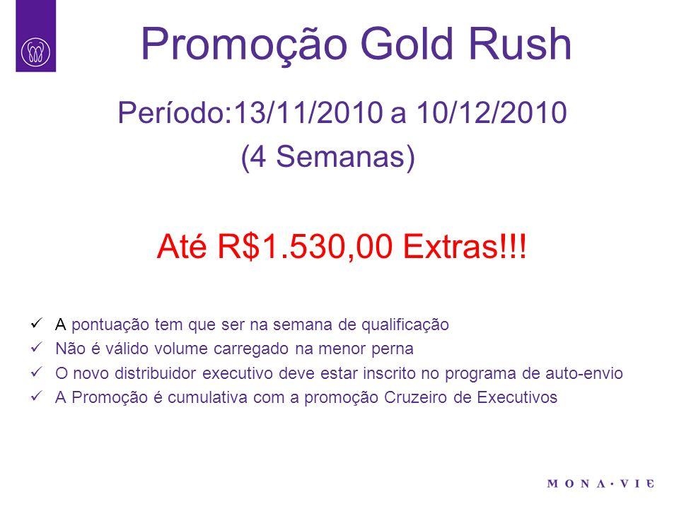 Promoção Gold Rush Período:13/11/2010 a 10/12/2010 (4 Semanas) Até R$1.530,00 Extras!!.