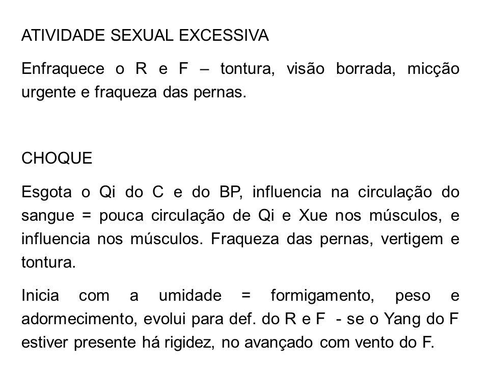 ATIVIDADE SEXUAL EXCESSIVA Enfraquece o R e F – tontura, visão borrada, micção urgente e fraqueza das pernas. CHOQUE Esgota o Qi do C e do BP, influen