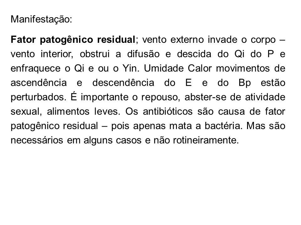 Manifestação: Fator patogênico residual; vento externo invade o corpo – vento interior, obstrui a difusão e descida do Qi do P e enfraquece o Qi e ou