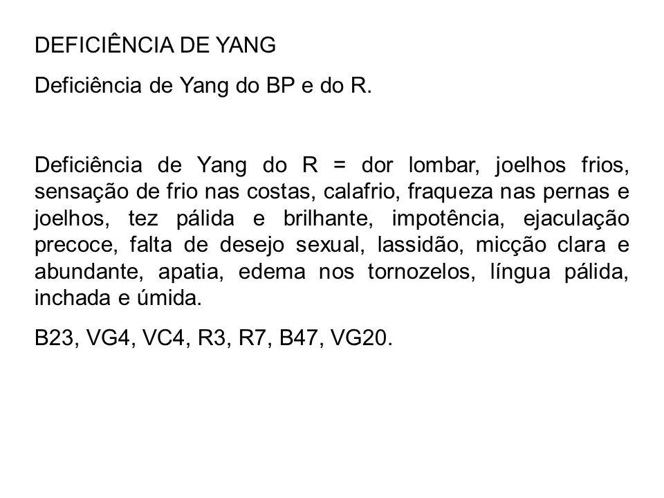 DEFICIÊNCIA DE YANG Deficiência de Yang do BP e do R. Deficiência de Yang do R = dor lombar, joelhos frios, sensação de frio nas costas, calafrio, fra