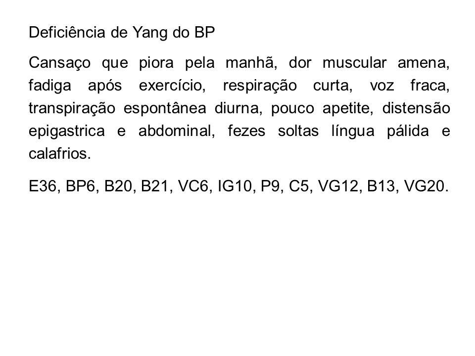 Deficiência de Yang do BP Cansaço que piora pela manhã, dor muscular amena, fadiga após exercício, respiração curta, voz fraca, transpiração espontâne
