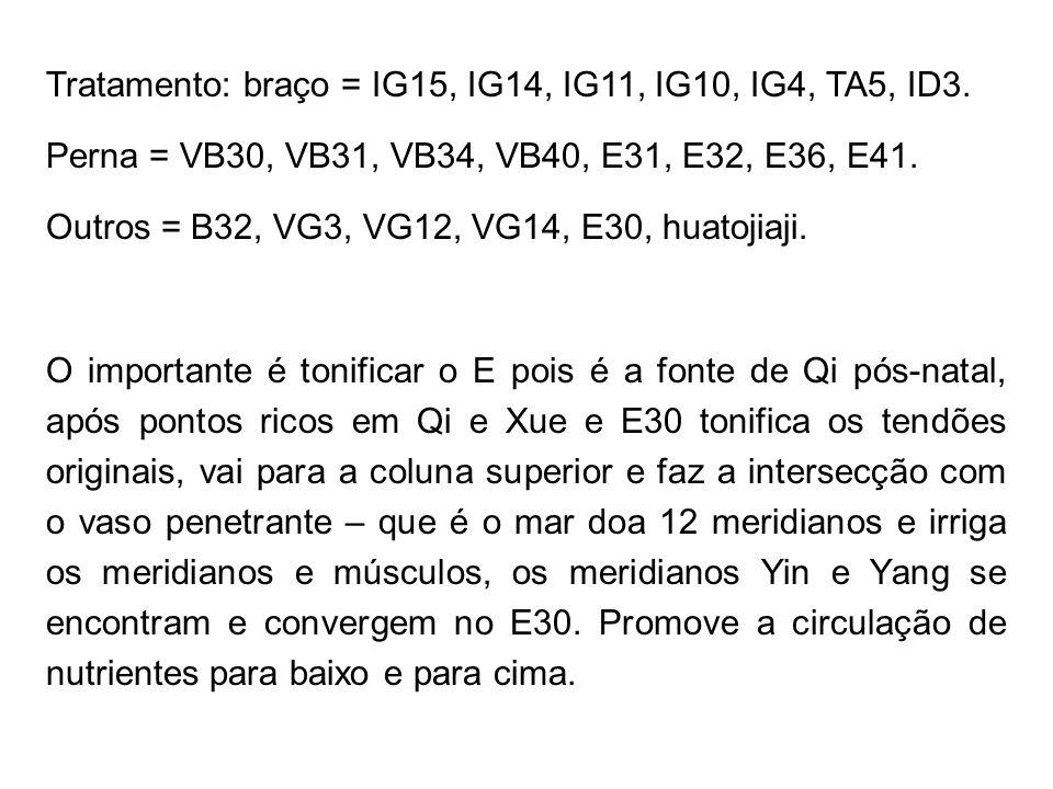 Tratamento: braço = IG15, IG14, IG11, IG10, IG4, TA5, ID3. Perna = VB30, VB31, VB34, VB40, E31, E32, E36, E41. Outros = B32, VG3, VG12, VG14, E30, hua