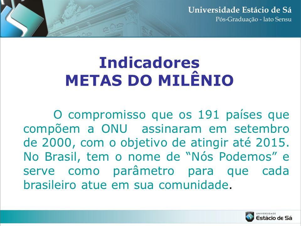Indicadores METAS DO MILÊNIO O compromisso que os 191 países que compõem a ONU assinaram em setembro de 2000, com o objetivo de atingir até 2015. No B