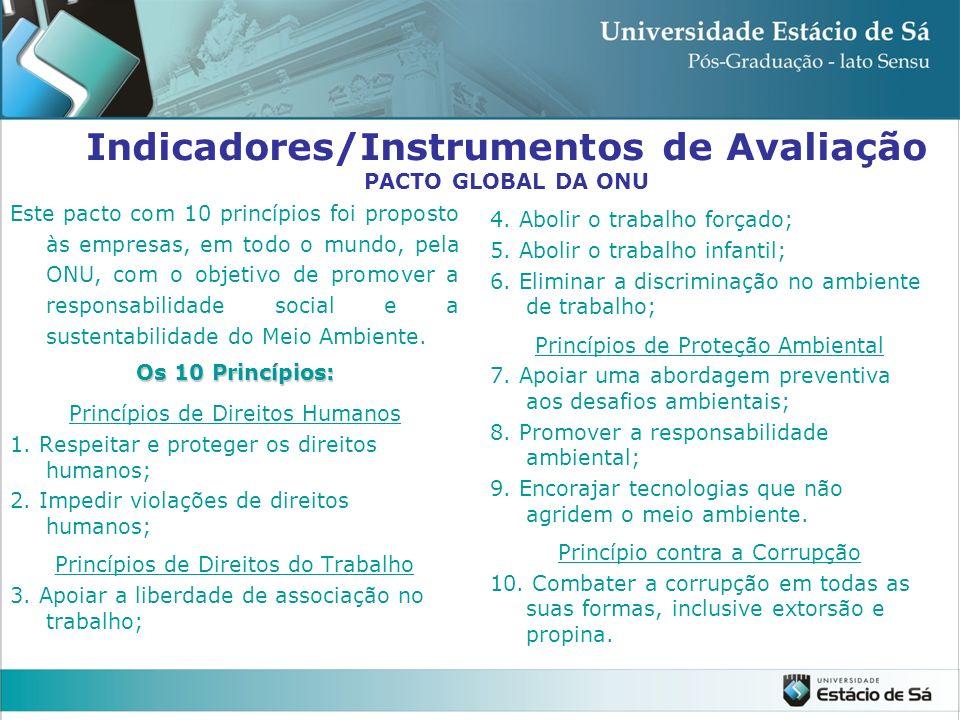 Indicadores/Instrumentos de Avaliação PACTO GLOBAL DA ONU Este pacto com 10 princípios foi proposto às empresas, em todo o mundo, pela ONU, com o obje