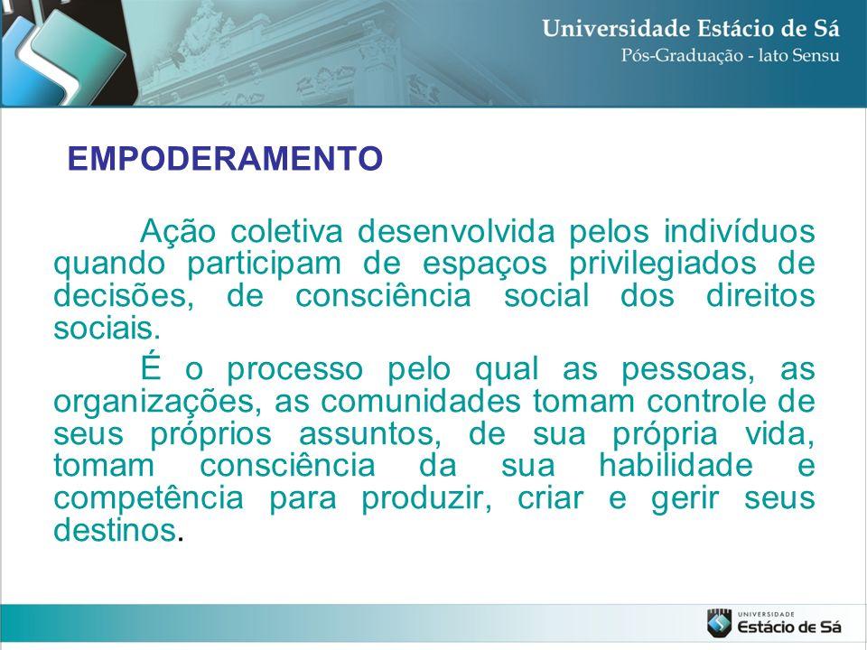 EMPODERAMENTO Ação coletiva desenvolvida pelos indivíduos quando participam de espaços privilegiados de decisões, de consciência social dos direitos s