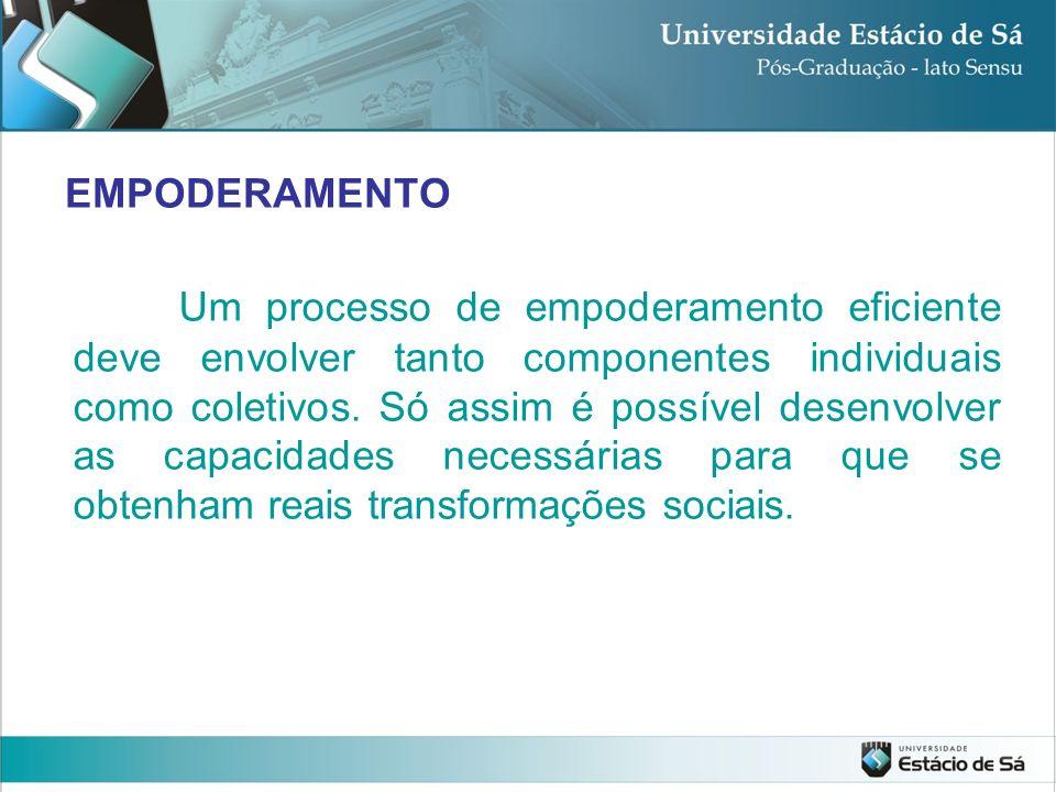 EMPODERAMENTO Um processo de empoderamento eficiente deve envolver tanto componentes individuais como coletivos. Só assim é possível desenvolver as ca
