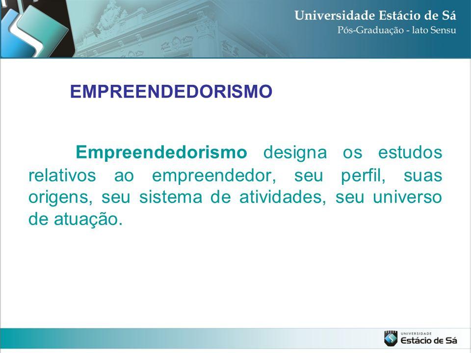 Empreendedorismo designa os estudos relativos ao empreendedor, seu perfil, suas origens, seu sistema de atividades, seu universo de atuação. EMPREENDE