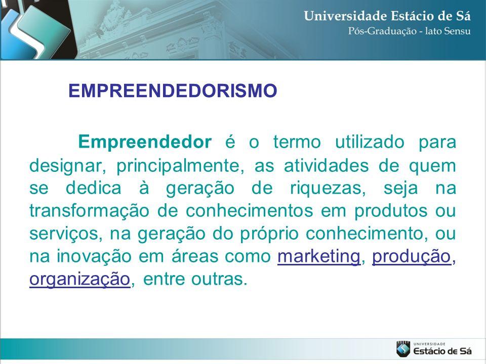 Empreendedor é o termo utilizado para designar, principalmente, as atividades de quem se dedica à geração de riquezas, seja na transformação de conhec