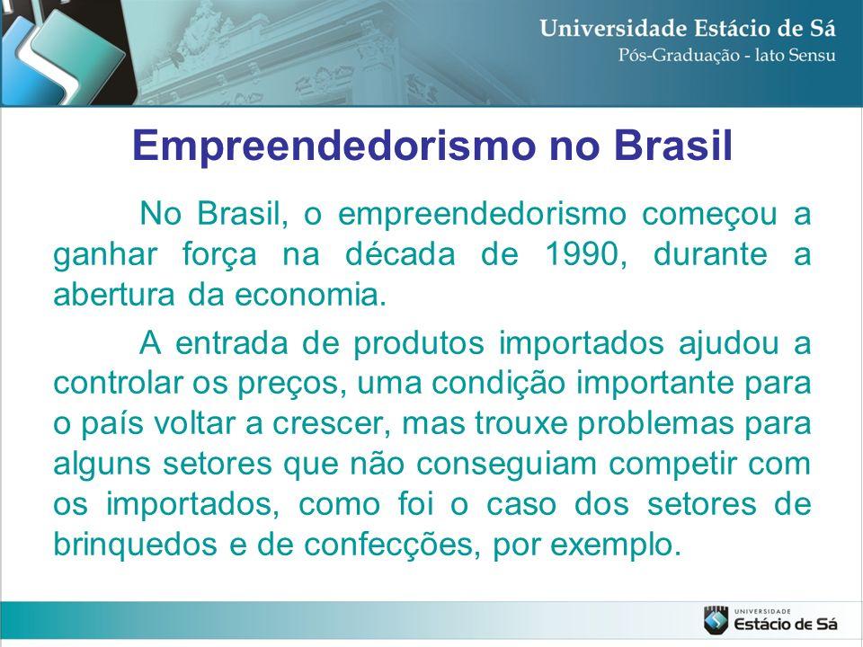 No Brasil, o empreendedorismo começou a ganhar força na década de 1990, durante a abertura da economia. A entrada de produtos importados ajudou a cont