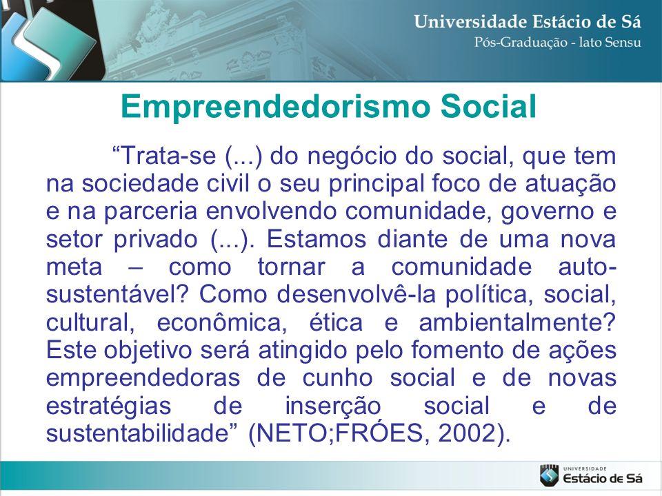 Empreendedorismo Social Trata-se (...) do negócio do social, que tem na sociedade civil o seu principal foco de atuação e na parceria envolvendo comun