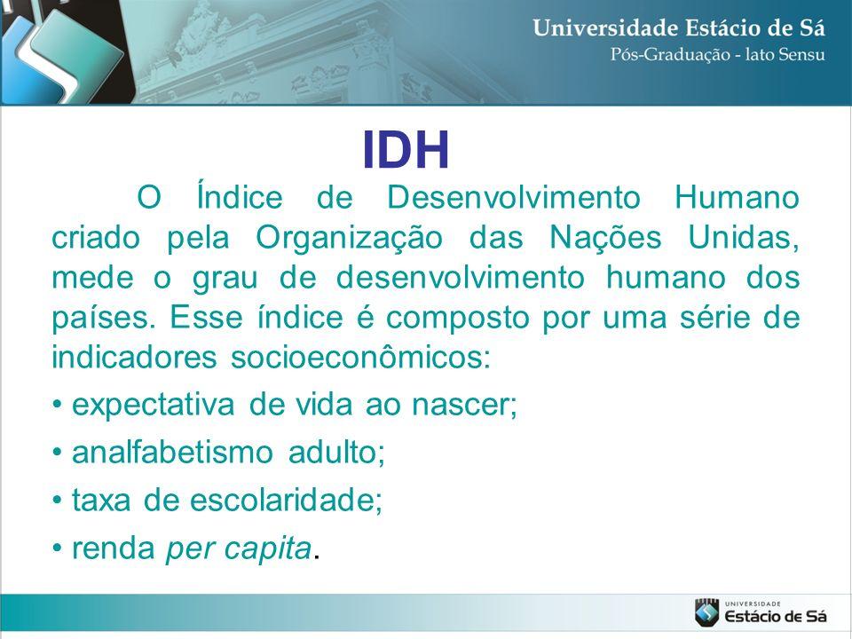 IDH O Índice de Desenvolvimento Humano criado pela Organização das Nações Unidas, mede o grau de desenvolvimento humano dos países. Esse índice é comp