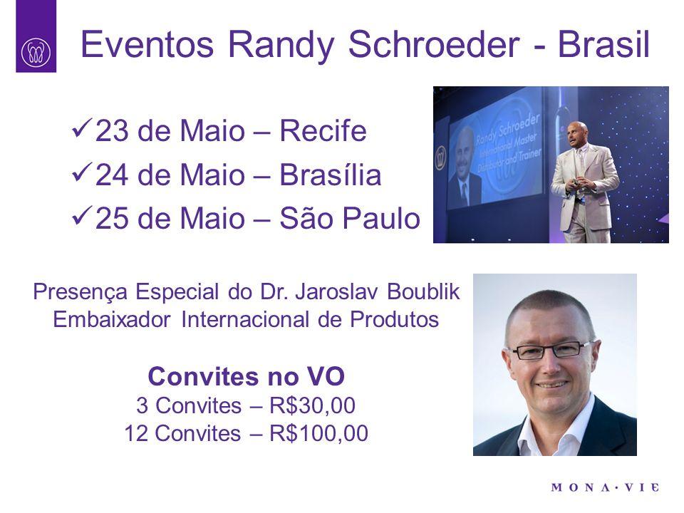 Eventos Randy Schroeder - Brasil 23 de Maio – Recife 24 de Maio – Brasília 25 de Maio – São Paulo Presença Especial do Dr. Jaroslav Boublik Embaixador