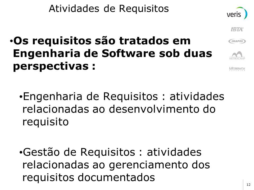 12 Atividades de Requisitos Os requisitos são tratados em Engenharia de Software sob duas perspectivas : Engenharia de Requisitos : atividades relacio