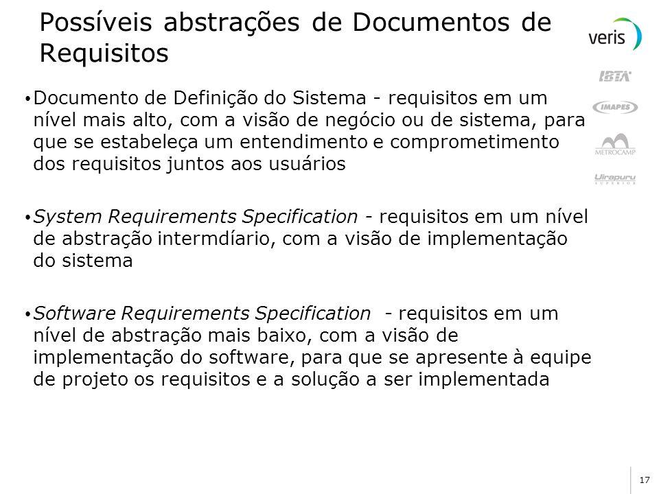 17 Possíveis abstrações de Documentos de Requisitos Documento de Definição do Sistema - requisitos em um nível mais alto, com a visão de negócio ou de