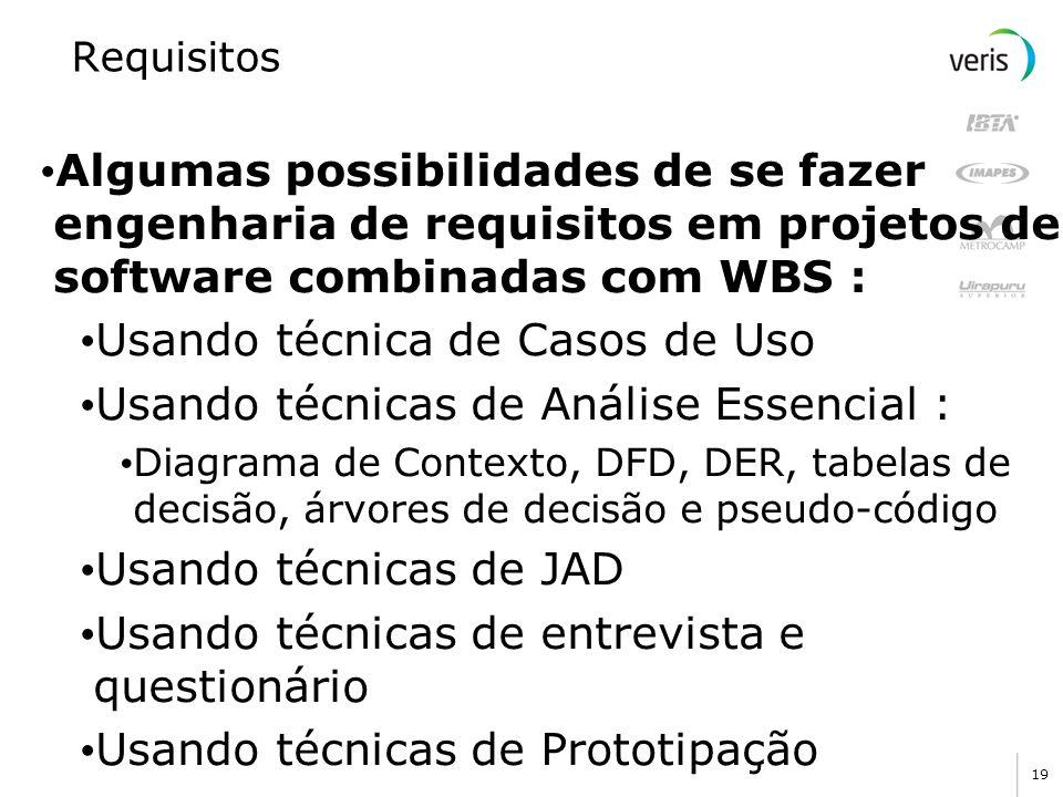 19 Requisitos Algumas possibilidades de se fazer engenharia de requisitos em projetos de software combinadas com WBS : Usando técnica de Casos de Uso