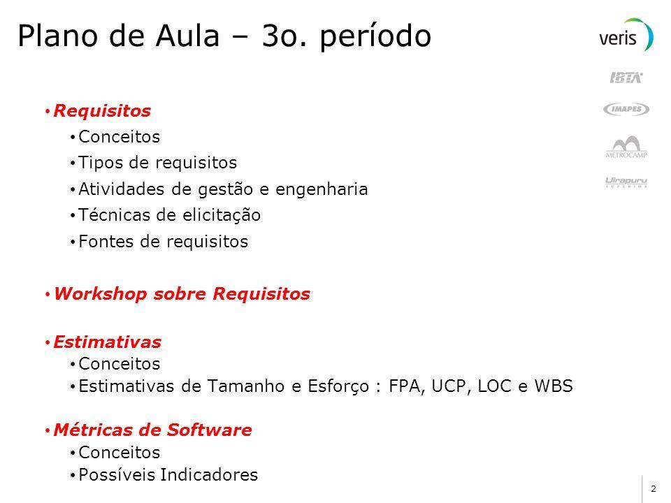 2 Plano de Aula – 3o. período Requisitos Conceitos Tipos de requisitos Atividades de gestão e engenharia Técnicas de elicitação Fontes de requisitos W