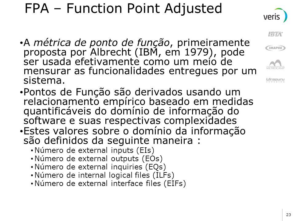23 FPA – Function Point Adjusted A métrica de ponto de função, primeiramente proposta por Albrecht (IBM, em 1979), pode ser usada efetivamente como um