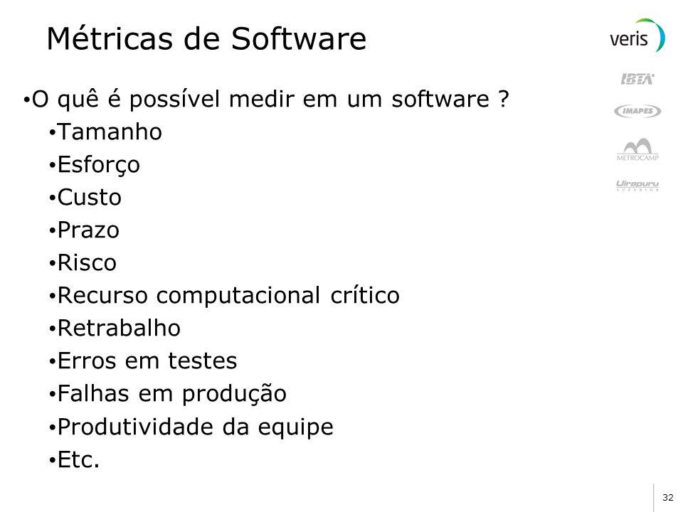 32 Métricas de Software O quê é possível medir em um software ? Tamanho Esforço Custo Prazo Risco Recurso computacional crítico Retrabalho Erros em te