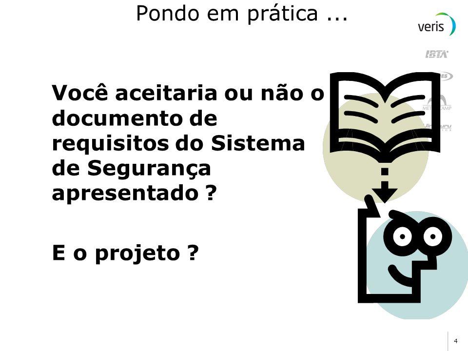 4 Pondo em prática... Você aceitaria ou não o documento de requisitos do Sistema de Segurança apresentado ? E o projeto ?
