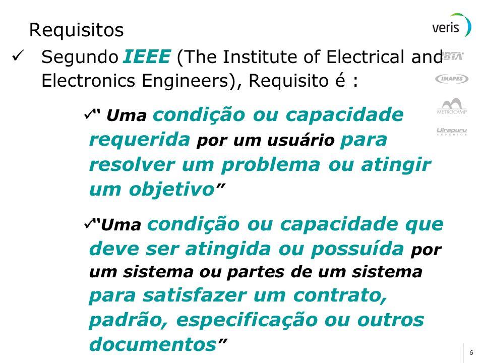 6 Requisitos Segundo IEEE (The Institute of Electrical and Electronics Engineers), Requisito é : Uma condição ou capacidade requerida por um usuário p