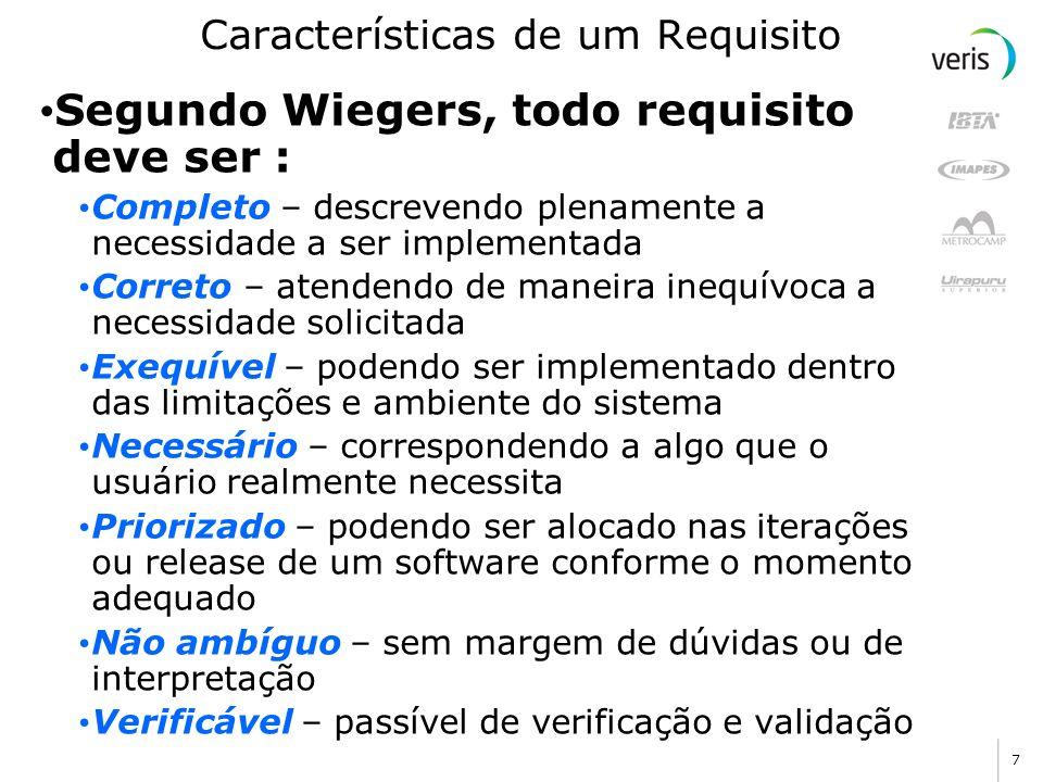 7 Características de um Requisito Segundo Wiegers, todo requisito deve ser : Completo – descrevendo plenamente a necessidade a ser implementada Corret