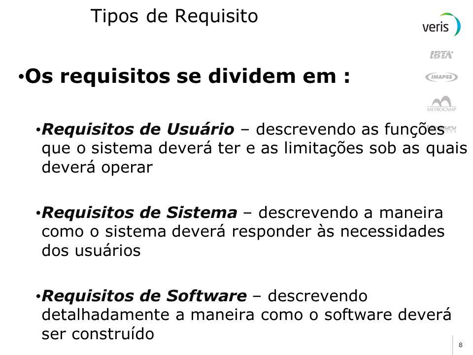 8 Tipos de Requisito Os requisitos se dividem em : Requisitos de Usuário – descrevendo as funções que o sistema deverá ter e as limitações sob as quai