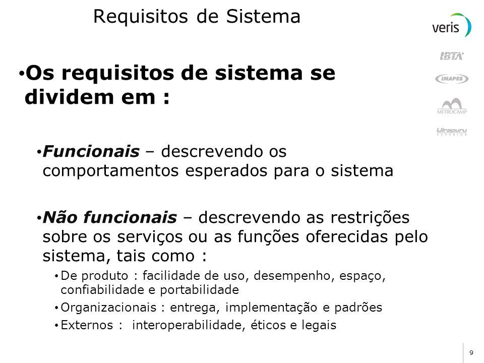 9 Requisitos de Sistema Os requisitos de sistema se dividem em : Funcionais – descrevendo os comportamentos esperados para o sistema Não funcionais –