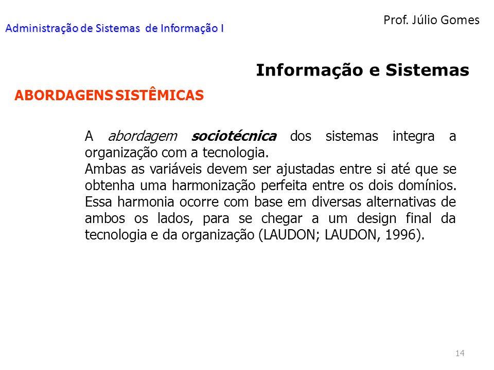 Prof. Júlio Gomes 14 Informação e Sistemas ABORDAGENS SISTÊMICAS A abordagem sociotécnica dos sistemas integra a organização com a tecnologia. Ambas a