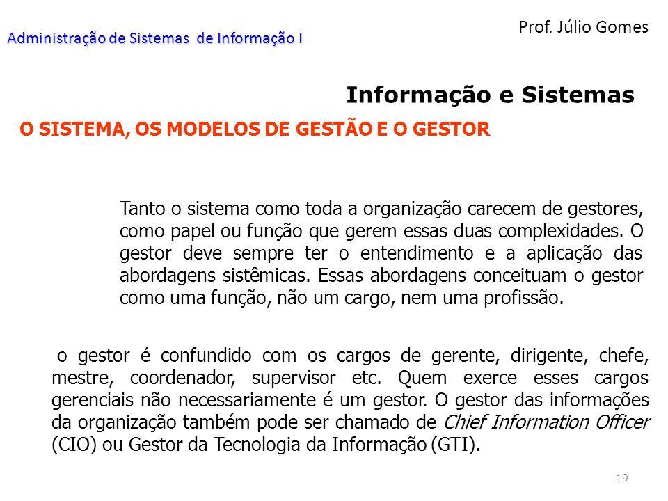 Prof. Júlio Gomes 19 Informação e Sistemas O SISTEMA, OS MODELOS DE GESTÃO E O GESTOR Tanto o sistema como toda a organização carecem de gestores, com