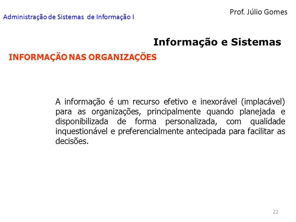 Prof. Júlio Gomes 22 Informação e Sistemas INFORMAÇÃO NAS ORGANIZAÇÕES A informação é um recurso efetivo e inexorável (implacável) para as organizaçõe