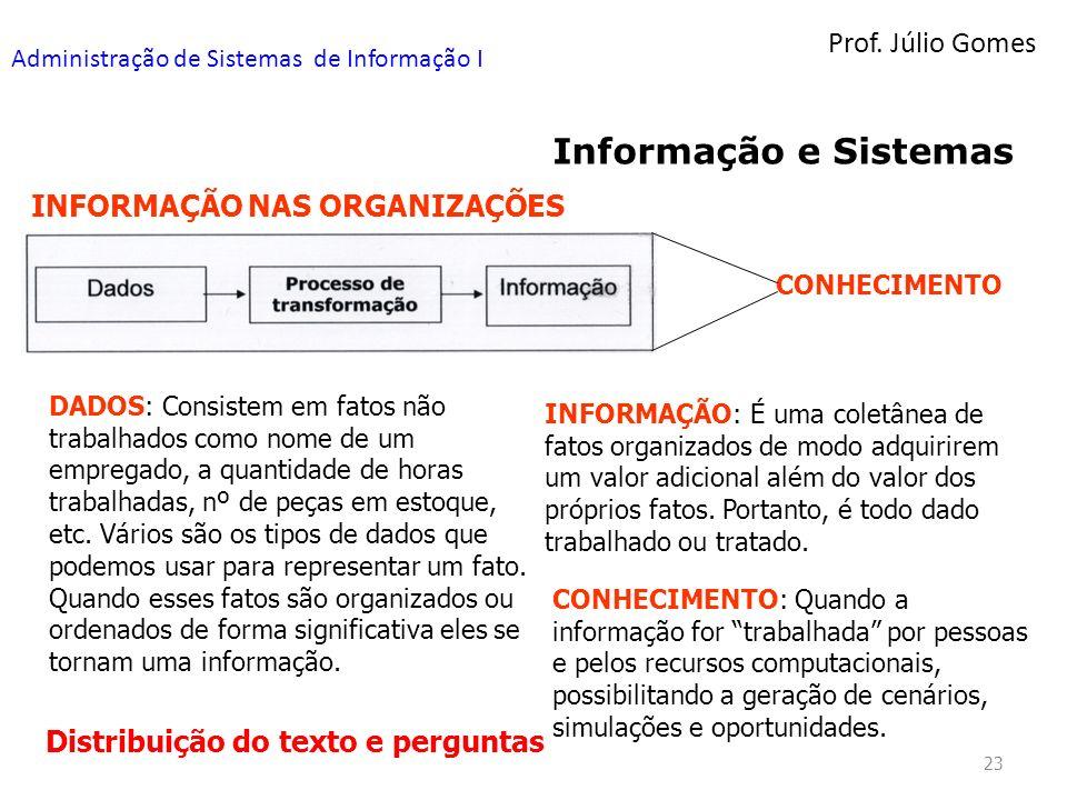 Prof. Júlio Gomes Administração de Sistemas de Informação I 23 Informação e Sistemas INFORMAÇÃO NAS ORGANIZAÇÕES DADOS: Consistem em fatos não trabalh