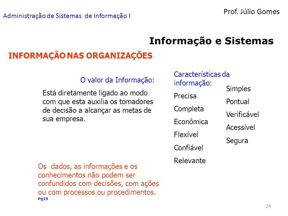 Prof. Júlio Gomes Administração de Sistemas de Informação I 24 Informação e Sistemas INFORMAÇÃO NAS ORGANIZAÇÕES Características da informação: Precis